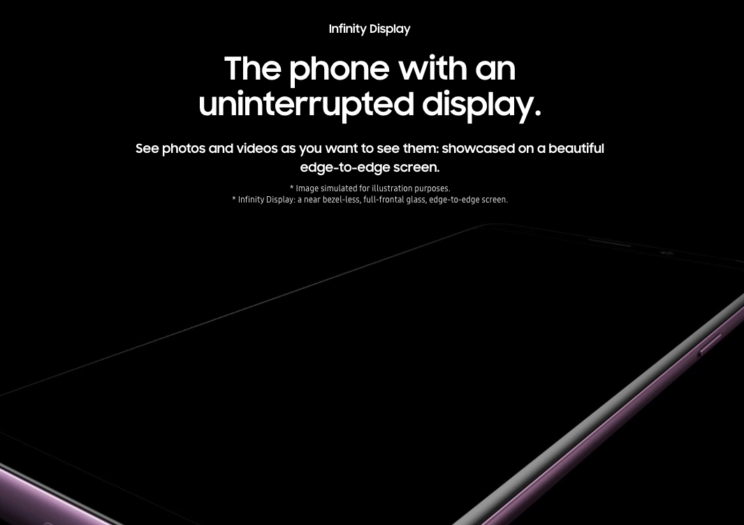 samsung s9 infinitry display