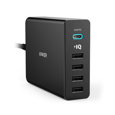 Anker PowerPort+ 5 Ports USB C With Power Delivery 60W USB Charge