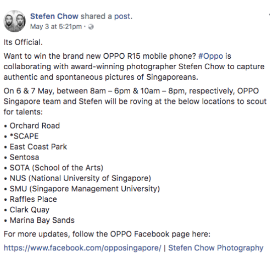 stefen chow oppo r15 singapore
