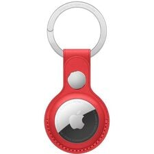 apple airtag red leather key ring